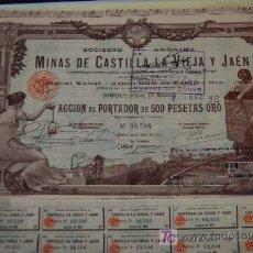 Coleccionismo Acciones Españolas: ACCION MINAS MINES MINING MINAS DE CASTILLA LA VIEJA Y JAEN. ACCION 500 PTA ORO. MADRID 1902. Lote 44070259
