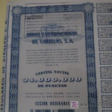 Coleccionismo Acciones Españolas: ACCION MINAS Y FERROCARRIL DE UTRILLAS S.A. ZARAGOZA TERUEL. MADRID 1952. ACCION 500 PTA. CUPONES.. Lote 19904448