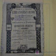 Coleccionismo Acciones Españolas: ACCION FERROCARRIL CHEMIN FER RAILWAY MADRID - ZARAGOZA - ALICANTE ¡¡1899¡¡ OBLIGACION 500 PTA. Lote 188732995