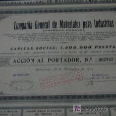 Coleccionismo Acciones Españolas: ACCION INDUSTRIA - COMPAÑIA GENERAL DE MATERIALES PARA INDUSTRIAS S.A. EMISION 3000 BARCELONA 1929. Lote 19905328