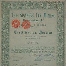 Coleccionismo Acciones Españolas: THE SPANISH TIN MINING CORPORATION LIMITED - MINAS DE ESTAÑO, ARNOYA - ORENSE / OURENSE (1902). Lote 30627170
