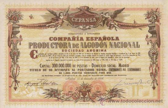 ACCION COMPAÑIA ESPAÑOLA PRODUCTORA DE ALGODÓN CEPANSA, MADRID AÑO 1956 IMPRESA POR LERCHUNDI BILBAO (Coleccionismo - Acciones Españolas)