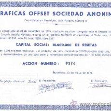 Coleccionismo Acciones Españolas: ACCION DE 10000 PESETAS GRÁFICAS OFFSET SOCIEDAD ANÓNIMA DOMICILIADA EN BARCELONA 20 DE MAYO DE 1976. Lote 26926282