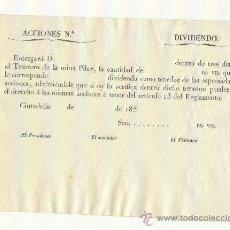 Coleccionismo Acciones Españolas: RARA ACCIÓN DE MINA PILAR EN CIUTADELLA CIUDADELA MENORCA 185_ SIN COMPLETAR. Lote 26009956