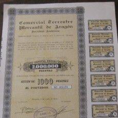 Coleccionismo Acciones Españolas: ACCIÓN COMERCIAL TERRESTRE MERCANTIL DE ARAGON. ZARAGOZA 5 JUNIO 1974. CON TODOS LOS CUPONES.. Lote 23589090
