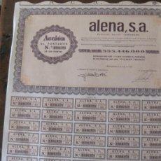 Coleccionismo Acciones Españolas: ACCIÓN ALENA, S.A. TARRAGONA 6 DE JULIO DE 1976. Lote 23600627