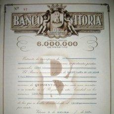 Coleccionismo Acciones Españolas: BANCO DE VITORIA S.A. -AÑOS 1950. Lote 123016978