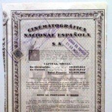 Collectionnisme Actions Espagne: CINEMATOGRÁFICA NACIONAL ESPAÑOLA S. A.. Lote 22715026