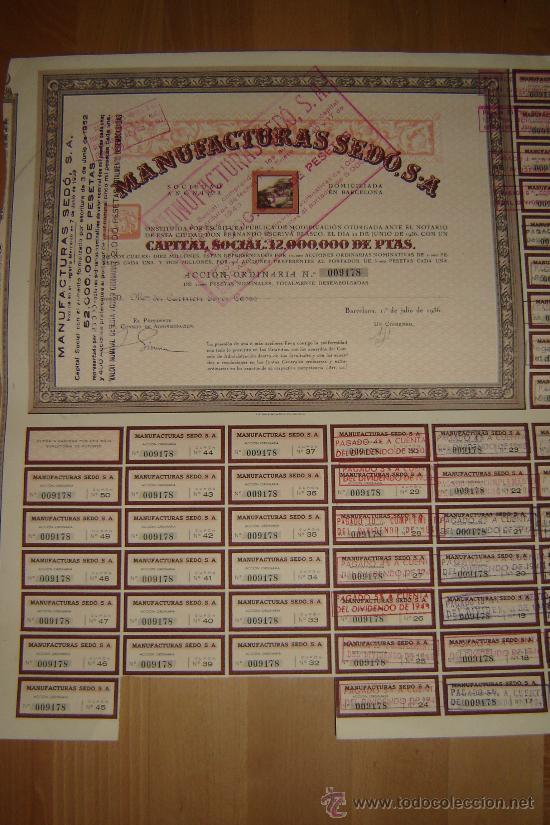 ACCION MANUFACTURAS SEDO.BARCELONA 1936. (Coleccionismo - Acciones Españolas)