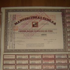 Coleccionismo Acciones Españolas: ACCION MANUFACTURAS SEDO.BARCELONA 1936.. Lote 27286984