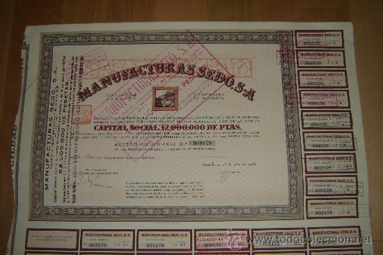 Coleccionismo Acciones Españolas: accion manufacturas sedo.barcelona 1936. - Foto 2 - 27286984