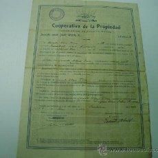 Coleccionismo Acciones Españolas: TITULO SE SOCIO DE LA COOPERATIVA DE LA PROPIEDAD - ASOCIACION DE CREDITO MUTUO - AÑO 1.934. Lote 21570152