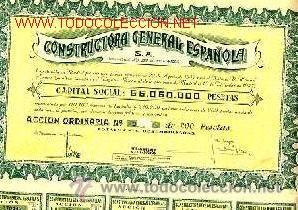 BARATAS PAREJA ACCIONES DE 200 PESETAS DE CONSTRUCTORA GENERAL ESPAÑOLA AÑO 1947 (Coleccionismo - Acciones Españolas)