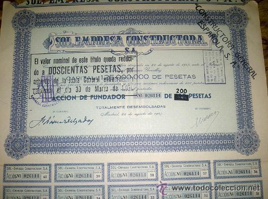BARATA PAREJA DE ACCIONES 200 PESETAS SOL EMPRESA CONSTRUCTORA S.A. AÑO 1947 (Coleccionismo - Acciones Españolas)