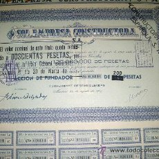 Coleccionismo Acciones Españolas: PAREJA DE ACCIONES 200 PESETAS SOL EMPRESA CONSTRUCTORA S.A. AÑO 1947. Lote 22119350
