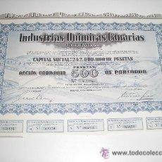 Coleccionismo Acciones Españolas: INDUSTRIAS QUIMICAS CANARIAS ACCION 500 PESETAS 1975. Lote 221538127