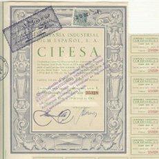 Coleccionismo Acciones Españolas: CINE PELICULA VALENCIA CIFESA COMPAÑIA INDUSTRIAL FILM ESPAÑOLA 500 PESETAS 1942. EXCELENTE ESTADO.. Lote 23488837