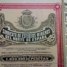 Coleccionismo Acciones Españolas: ACCION SINDICATO ESTUDIOS MINEROS DEL NORTE DE ESPAÑA 1929. CUPONES. Lote 23901683