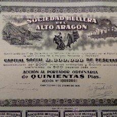 Collectionnisme Actions Espagne: ACCION SOCIEDAD HULLERA DEL ALTO ARAGÓN 1918. CUPONES.. Lote 23901794