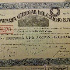 Coleccionismo Acciones Españolas: ACCIÓN COMPAÑIA GENERAL DEL CORCHO BARCELONA 1929. Lote 110240379