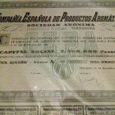 Coleccionismo Acciones Españolas: ACCION COMPAÑIA ESPAÑOLA PRODUCTOS AROMATICOS - CEPA -TARRAGONA 1940. Lote 23902733