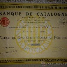 Coleccionismo Acciones Españolas: BANQUE DE CATALOGNE / BANCO DE CATALUÑA (1927). Lote 210568041