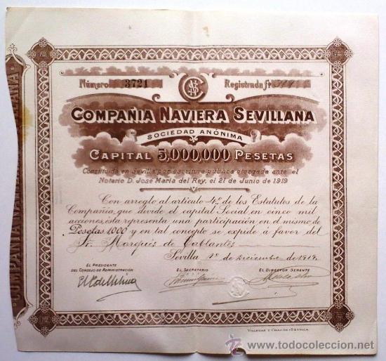 COMPAÑÍA NAVIERA SEVILLANA (Coleccionismo - Acciones Españolas)