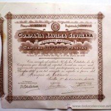 Coleccionismo Acciones Españolas: COMPAÑÍA NAVIERA SEVILLANA. Lote 194780717