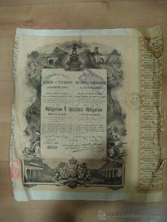 ACCION DE FERROCARRILES DIRECTOS MADRID Y ZARAGOZA A BARCELONA. 1883. (Coleccionismo - Acciones Españolas)