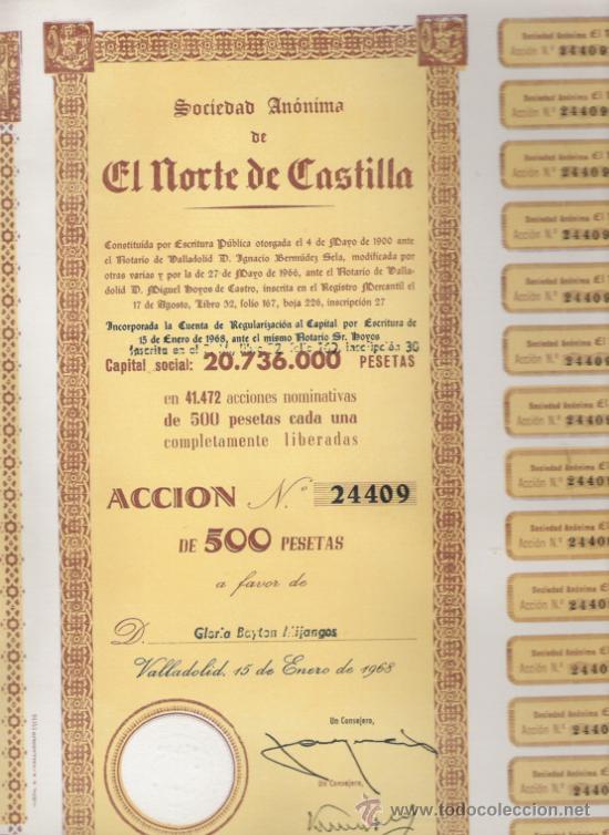 GRAN LOTE DE 50 ACCIONES DE 1968 DE EL NORTE DE CASTILLA VALLADOLID CON CUPONES CASI COMPLETOS (Coleccionismo - Acciones Españolas)