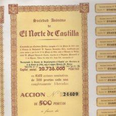 Coleccionismo Acciones Españolas: GRAN LOTE DE 50 ACCIONES DE 1968 DE EL NORTE DE CASTILLA VALLADOLID CON CUPONES CASI COMPLETOS . Lote 26338440