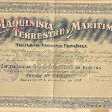 Coleccionismo Acciones Españolas: ACCIÓN DE 500 PESETAS 1917 LA MAQUINISTA TERRESTRE Y MARÍTIMA BARCELONA. Lote 24765337