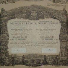 Coleccionismo Acciones Españolas: FERROCARRILES: COMPAÑÍA DE LOS CAMINOS DE HIERRO DEL NORTE DE ESPAÑA (1888). Lote 26454816
