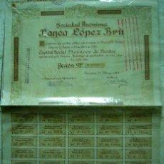 Collectionnisme Actions Espagne: BANCA LOPEZ BRÚ. BARCELONA, 1929. Nº 017252.. Lote 25550597