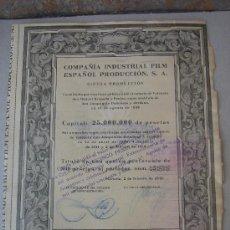 Coleccionismo Acciones Españolas: ACCIÓN DE -FILM ESPAÑOL PRODUCCIÓN, S.A.-, DEL 2-II-1942. DIMENSIONES.- 23,5X19,75 CMS.. Lote 27300462