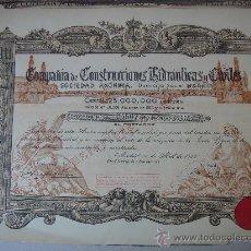 Coleccionismo Acciones Españolas: ACCIÓN DE -CONSTRUCCIONES HIDRÁULICAS Y CIVILES, S.A.-, DEL 10-IV-1950. DIMENSIONES.- 35,5X28 CMS.. Lote 27300463