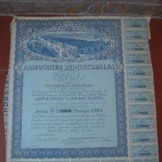 Coleccionismo Acciones Españolas: ACCIÓN DE -ALMACENES INDUSTRIALES, S.A.-, DEL 22-VI-1946. DIMENSIONES.- 33X28 CMS.. Lote 27344818
