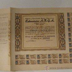 Coleccionismo Acciones Españolas: ACCIÓN LABORATORIOS A.R.G.A. S.A. PRODUCTOS Y ESPECIALIDADES QUIMICO.FARMACEUTICO. 7 OCTUBRE 1939.. Lote 26411702