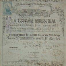 Coleccionismo Acciones Españolas: TEXTIL: LA ESPAÑA INDUSTRIAL, BARCELONA (1854) - ACCIÓN DE 2000 REALES DE VELLÓN. Lote 112705310