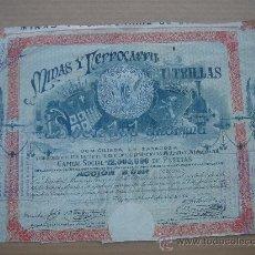 Coleccionismo Acciones Españolas: ACCIÓN MINAS Y FERROCARRIL DE UTRILLAS. ZARAGOZA 28-IX-1902. DIM.- 39X27 CMS.. Lote 26620669