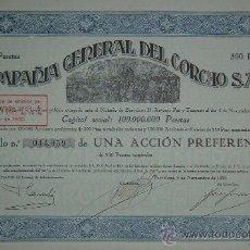 Coleccionismo Acciones Españolas: COMPAÑÍA GENERAL DEL CORCHO S.A.E., BARCELONA (1929), 1 ACCIÓN - FIRMADA POR FRANCESC CAMBÓ. Lote 82069578
