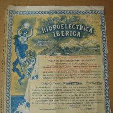 Coleccionismo Acciones Españolas: OBLIGACIÓN DE -HIDROELÉCTRICA IBÉRICA, S.A.-. BILBAO A 30-VI-1924. DIMENSIONES.- 25,5X33 CMS.. Lote 26764121