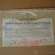 Coleccionismo Acciones Españolas: OBLIGACIÓN DE -CIA GRAL DE FERROCARRILES CATALANES, S.A.-. BARCELONA 24-V-1924. DIM.- 33X18 CMS.. Lote 26764798