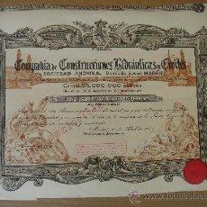 Coleccionismo Acciones Españolas: ACCIÓN DE -CONSTRUCCIONES HIDRAÚLICAS Y CIVILES, S.A.-. MADRID 10-IV-1950. DIMENSIONES.-35,5X29 CMS.. Lote 26780727