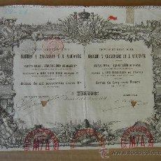 Coleccionismo Acciones Españolas: ACCIÓN -FERROCARRILES MADRID A ZARAGOZA Y A ALICANTE-. MADRID 31-I-1878. DIM.- 27,750X19,750 CMS.. Lote 26781093