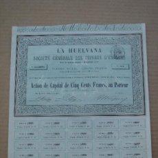 Coleccionismo Acciones Españolas: ACCIÓN -LA HUELVANA, SOCIÉTÉ GÉNÉRALE DES CUIVRES D´ESPAGNE-. PARÍS 1-XII-1859. DIM.- 32,5X27,250.. Lote 26796240