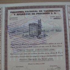 Coleccionismo Acciones Españolas: ACCIÓN -TAXÍMETROS Y APARATOS DE PRECISIÓN, S.A.-. MADRID 11-III-1930. DIM.- 36X26,5 CMS.. Lote 26825506
