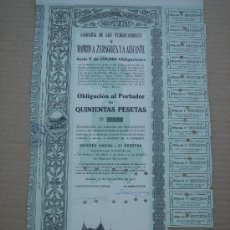 Coleccionismo Acciones Españolas: OBLIGACIÓN -FERROCARRILES MADRID A ZARAGOZA Y A ALICANTE-. MADRID 14-XI-1918. 43X25 CMS.. Lote 26936484