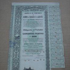 Coleccionismo Acciones Españolas: OBLIGACIÓN -FERROCARRILES MADRID A ZARAGOZA Y A ALICANTE-. MADRID 14-XI-1918. 43X25 CMS.. Lote 26936692