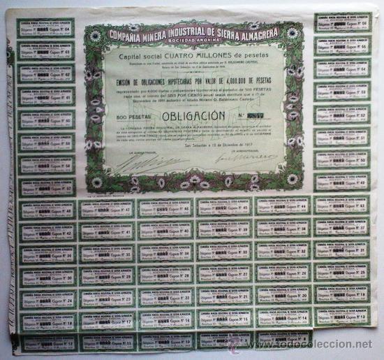 COMPAÑIA MINERA INDUSTRIAL DE SIERRA ALMAGREDA S. A. (Coleccionismo - Acciones Españolas)